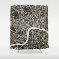 london map Shower Curtains featuring London map by NJ-Illustrations
