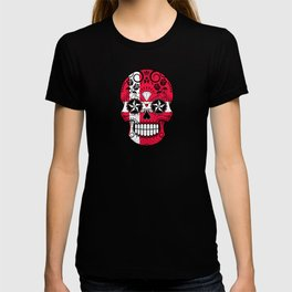 Sugar Skull with Roses and Flag of Denmark T-shirt