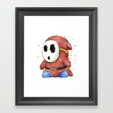 Shy Guy Watercolor Mario Art Framed Art Print