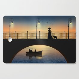 Romantic meeting by the river in the sunset Cutting Board
