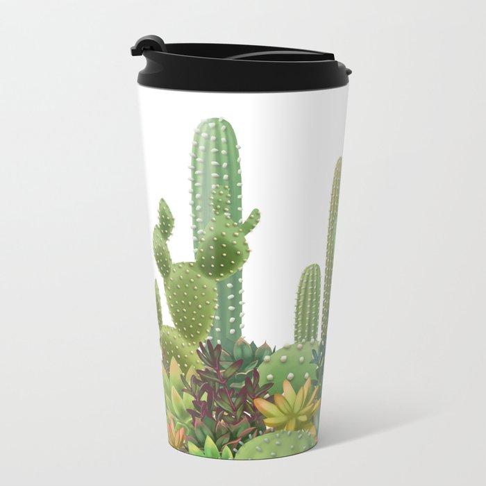 Milagritos Cacti on white background. Metal Travel Mug