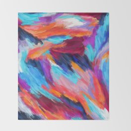 Bright Abstract Brushstrokes Throw Blanket
