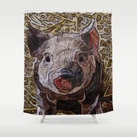 piglet Shower Curtains featuring Shiny doodle PIGLET by MehrFarbeimLeben