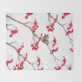 Cute Squirrel With Red Rowan Berries On A White Background #decor #society6 #buyart Throw Blanket