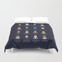 robin williams Duvet Covers featuring The Faces of Robin Williams by Dorothy Leigh