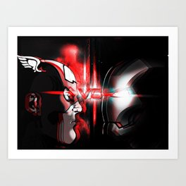 Cap Vs. Ironman! Art Print