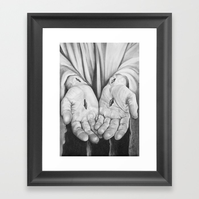 Jesus Hands Framed Art Print by hidbdesigns | Society6