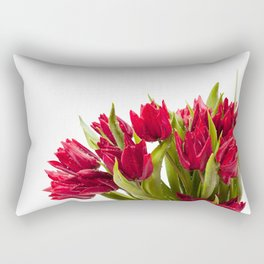 Water sprinkled cut red tulips Rectangular Pillow