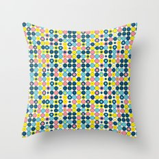 Funny Polkas-Blue and pink Throw Pillow