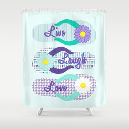 Live - Laugh - Love in Turquoise & Purple Shower Curtain