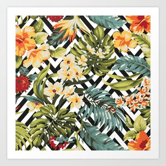 Flowered Chevron Art Print