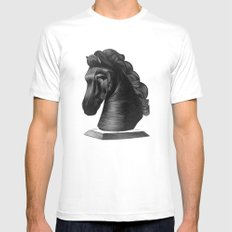 horse no.4 MEDIUM White Mens Fitted Tee