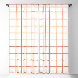 Grid Pattern Orange Blackout Curtain