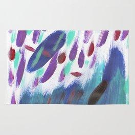 Navy blue teal violet purple  watercolor brushstrokes Rug