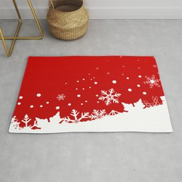Red Snowflake Scene Rug