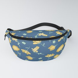 Blue and Yellow Floral Pattern Fanny Pack