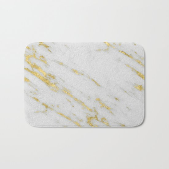 Marble - Shimmery Gold Marble on White Pattern Bath Mat