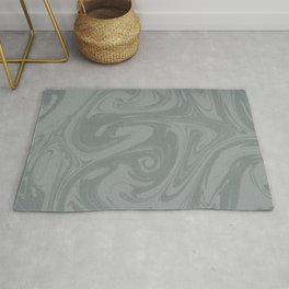PPG Night Watch Pewter Green Abstract Fluid Art Swirl Pattern Rug