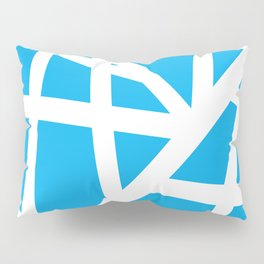 Abstract Interstate  Roadways White & Aqua Blue Color Pillow Sham