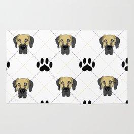 Faun Great Dane Paw Print Pattern Rug