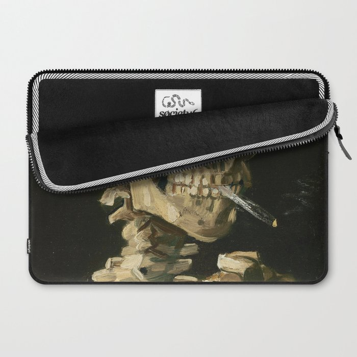 Van Gogh Head of a skeleton with a burning cigarette Laptop Sleeve