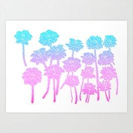 Gradient Roses Art Print