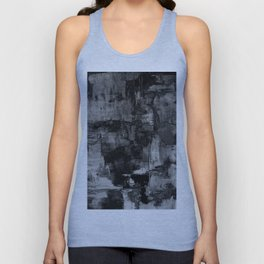 Crackled Gray - Black, white and gray, grey textured abstract Unisex Tank Top