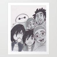 big hero 6 Art Prints featuring Big Hero 6 Selfie by Alice's Art