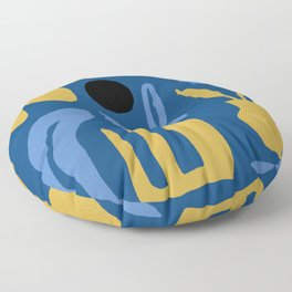 Abstract Classic Blue and Gold Floor Pillow