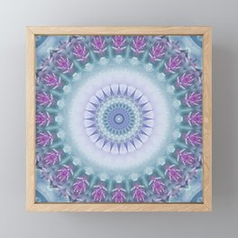 Violet Flowers Mandala Framed Mini Art Print