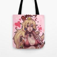 peach Tote Bags featuring Peach by Iain