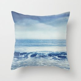 soothing sea - cristal clear wave and blue sea Throw Pillow