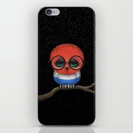 Baby Owl with Glasses and Dutch Flag iPhone Skin