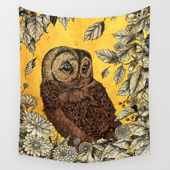Tawny Owl Yellow Wall Tapestry