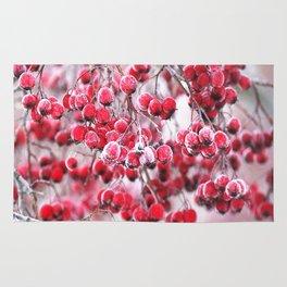 Icy Rowan Red Berries Winter Scene #decor #society6 #buyart Rug