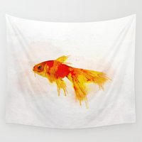 goldfish Wall Tapestries featuring Goldfish by emegi