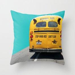 Old School Bus Throw Pillow