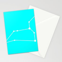 Leo (White & Cyan) Stationery Cards