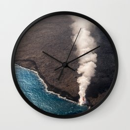 Kamukona molten hot lava stream sprouting into the Pacific Ocean in Hawaii Wall Clock