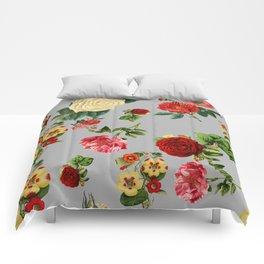 Grey vintage roses Comforters