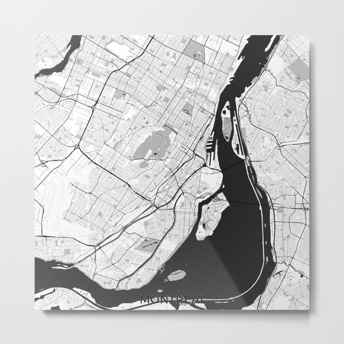 Montreal Map Gray Metal Print