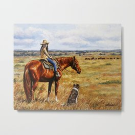 Young Cowgirl on Cattle Horse Metal Print