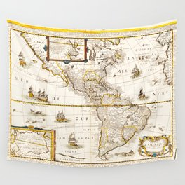 Map of North and South America (1661) Wall Tapestry