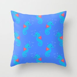 Blue Seahorse Pattern Throw Pillow