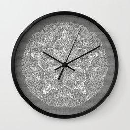 Medallion on Gray Linen Wall Clock