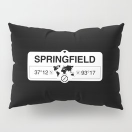 Springfield Missouri Map GPS Coordinates Artwork with Compass Pillow Sham