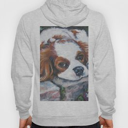 Beautiful Blenheim Cavalier King Charles Spaniel Dog Art Painting by LA.Shepard Hoody