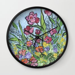Garden Flowers Wall Clock