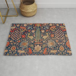 17th Century Persian Rug Print with Animals Rug