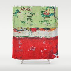 Dixon Red Green Abstract Painting Print Shower Curtain